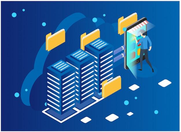データ分析と統計の概念ベクトル図ビジネス分析、データの可視化。技術、インターネット、ネットワークのコンセプトデータと投資 Premiumベクター