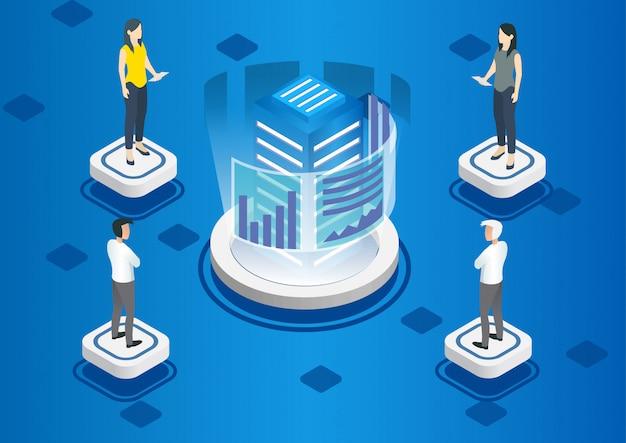 データ分析のための等尺性エキスパートチーム Premiumベクター