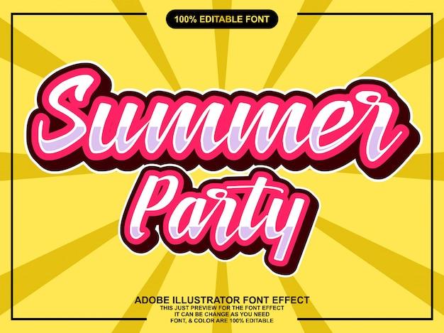 Простой винтажный летний вечеринка стикер эффект шрифта Premium векторы