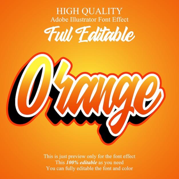 Современный оранжевый скрипт редактируемый типографский эффект шрифта Premium векторы