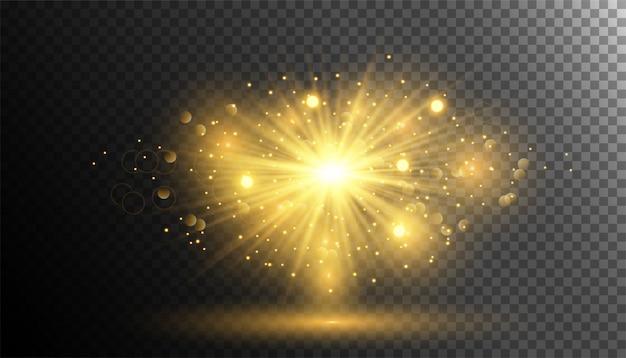 輝く光とゴールドラメパウダースプラッシュバースト Premiumベクター