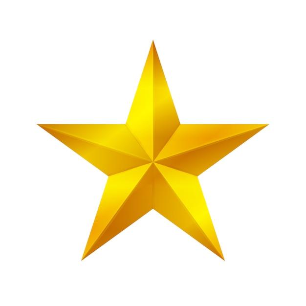白い背景、ゴールデンスターのアイコン、ゴールドスターのロゴに分離された金の星形 Premiumベクター