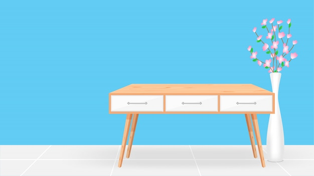 青い部屋と植木鉢に空の木製机 Premiumベクター