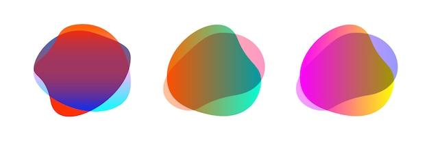 カラフルなブロブ形状の抽象的な形状セット Premiumベクター