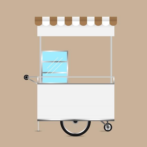 空白のキオスクの車輪の市場および外面の設計のためのカートの在庫 Premiumベクター