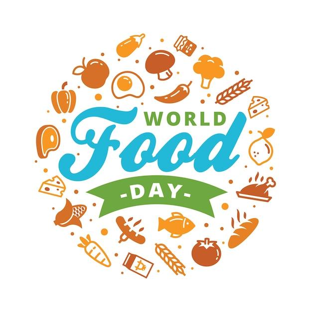 世界の食品の日ロゴのバナーのコンセプト Premiumベクター