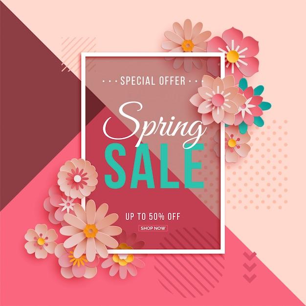 紙の花と春のセールポスター Premiumベクター