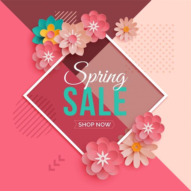 紙の花とダイヤモンドフレーム春販売バナー Premiumベクター