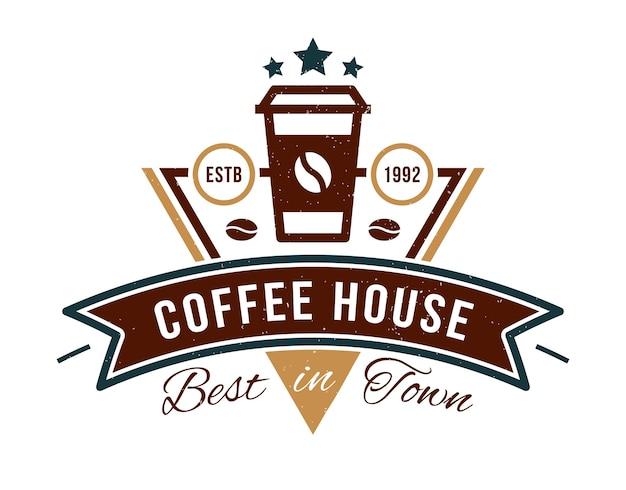 カフェのコーヒーハウスバッジロゴ Premiumベクター