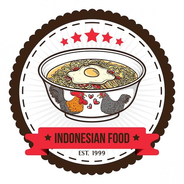 Шаблоны дизайна значка лапши индонезийской кухни Premium векторы