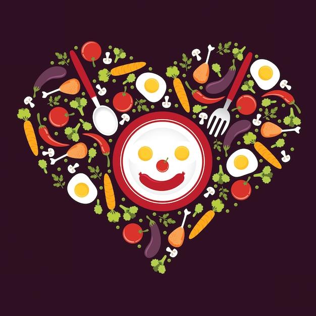 愛の形をした野菜のアイコンの図 Premiumベクター