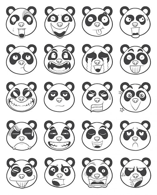 パンダ顔絵文字概要イラストのセット Premiumベクター