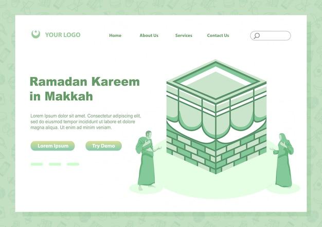 Фондовый вектор посадки страницы рамадан карим с людьми, делающими молитву в близкой святой каббе Premium векторы