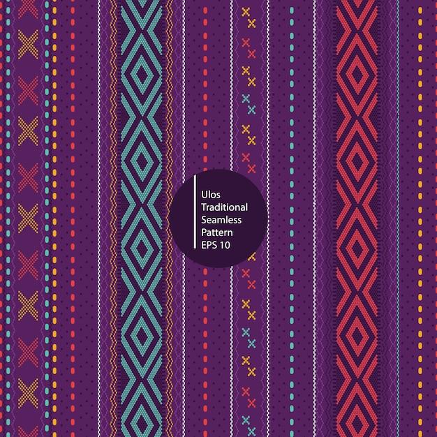 Улос традиционный батик из северной суматры индонезия бесшовный красочный фон Premium векторы