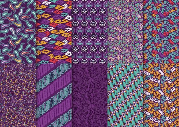 インドネシアバティックミックス抽象的な花の伝統的なスタイルのシームレスパターンセット Premiumベクター