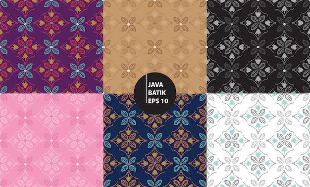 Джокьякарта ява индонезия традиционный батик наследие бесшовный фон фон Premium векторы