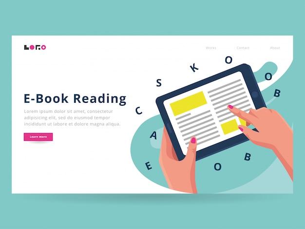 Шаблон целевой страницы электронной книги Premium векторы