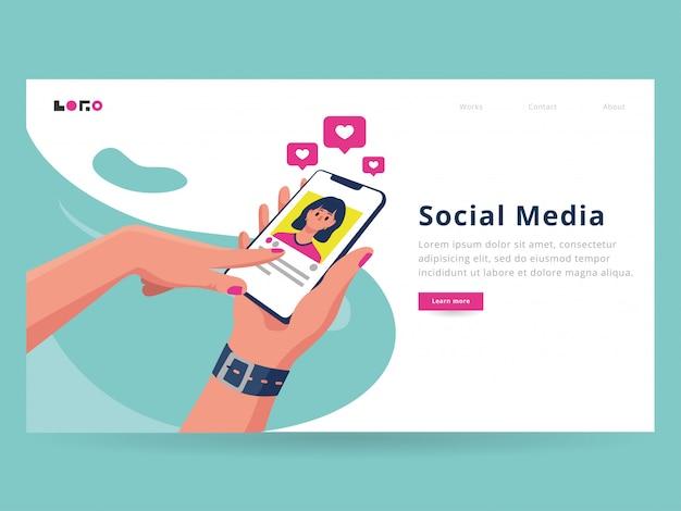 ソーシャルメディアのランディングページテンプレート Premiumベクター