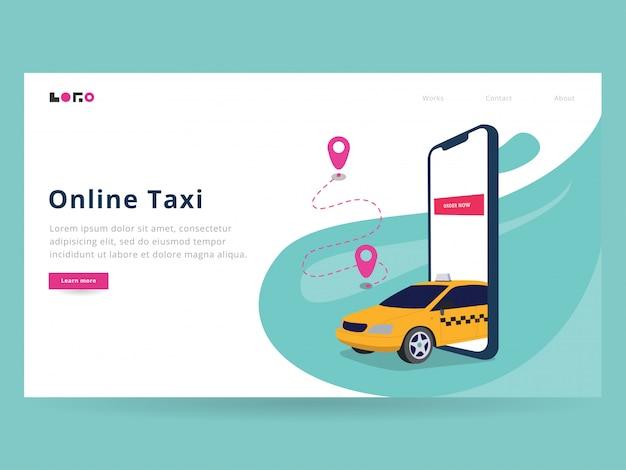 オンラインタクシーランディングページ Premiumベクター
