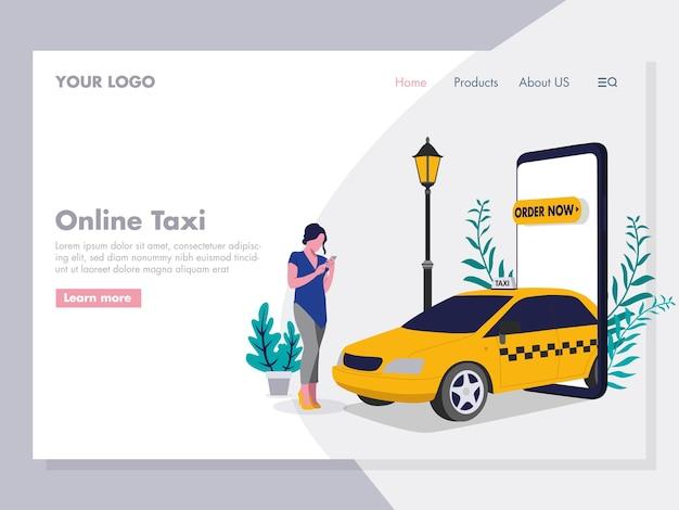 Заказ онлайн-такси иллюстрация для целевой страницы Premium векторы