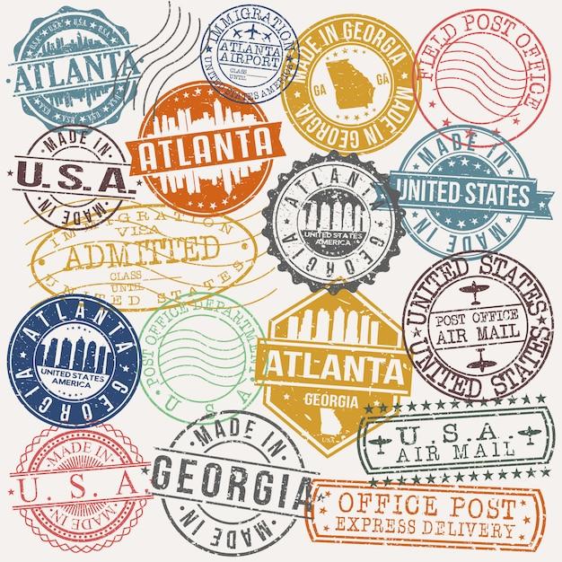 Атланта джорджия набор туристических и деловых марок Premium векторы