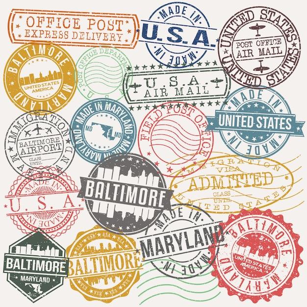Балтимор мэриленд набор марки путешествия и бизнес Premium векторы