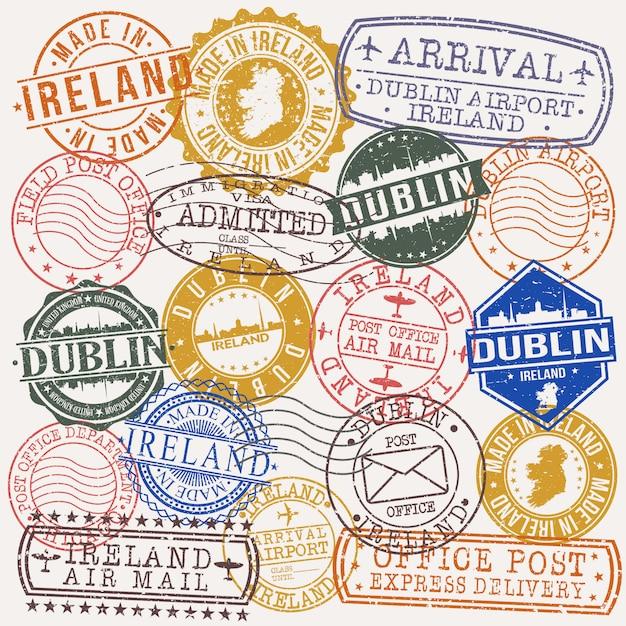 Дублин, ирландия набор туристических и деловых марок Premium векторы