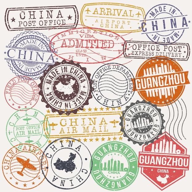 Гуанчжоу, китай набор туристических и деловых марок Premium векторы