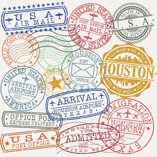 Хьюстон, техас набор туристических и деловых марок Premium векторы