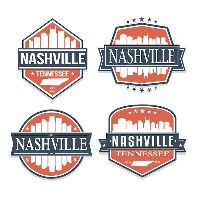 Нэшвилл, теннесси набор туристических и деловых марок Premium векторы