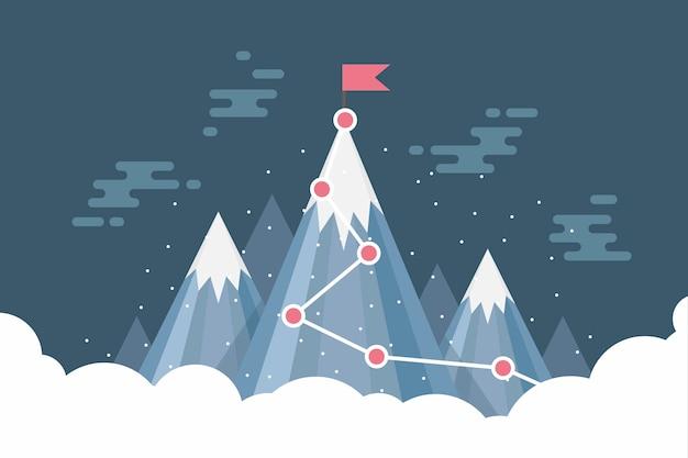 雪山の頂上にビジネス目標成功の旗。 Premiumベクター