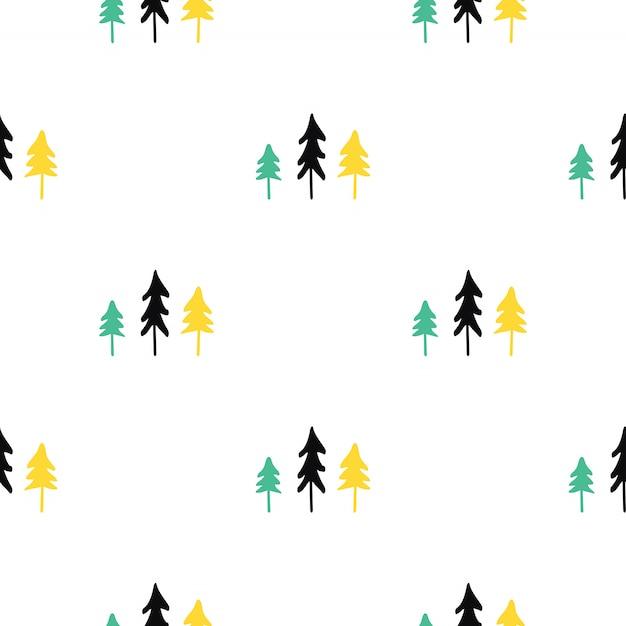 スカンジナビアのクリスマスツリーのシームレスなパターン。 Premiumベクター
