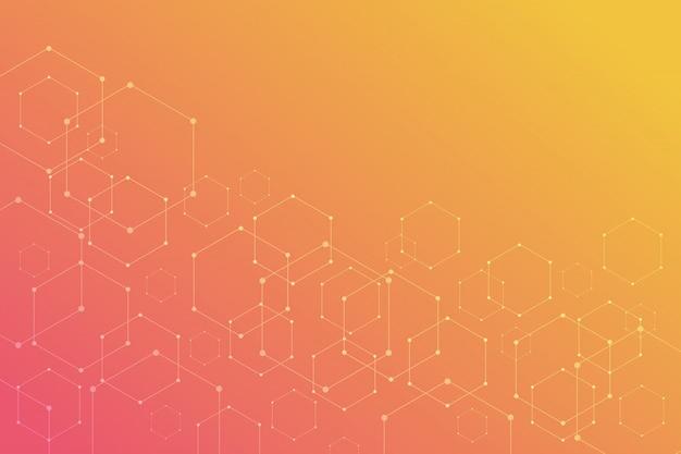 オレンジ色の背景上の抽象的な六角形。 Premiumベクター