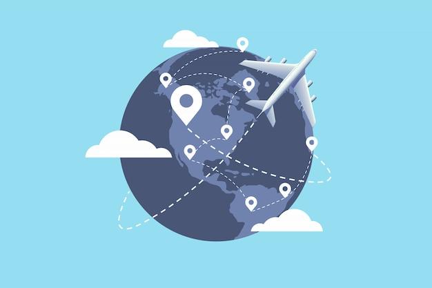 世界中を飛ぶ飛行機 Premiumベクター
