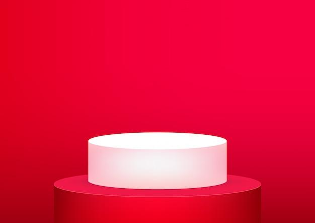 製品の表示のための空の表彰台スタジオ赤背景。 Premiumベクター