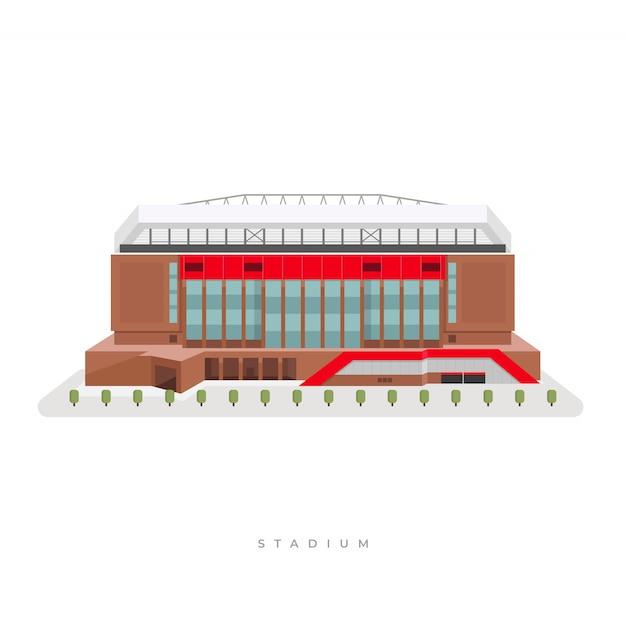 スポーツスタジアム、サッカースタジアム。 Premiumベクター
