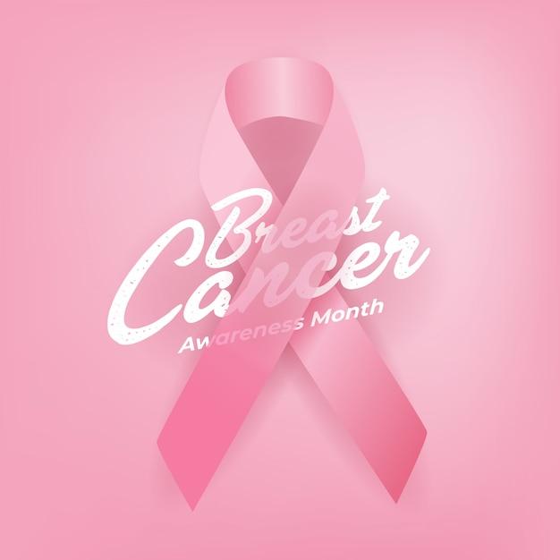 Плакат каллиграфии осведомленности рака молочной железы. Premium векторы