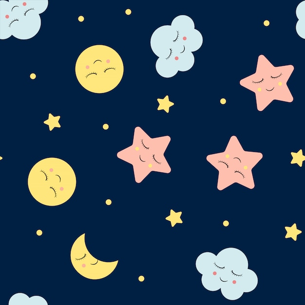 Безшовная картина с милыми облаками, звездой и лунами. шаблон ночного неба. Premium векторы