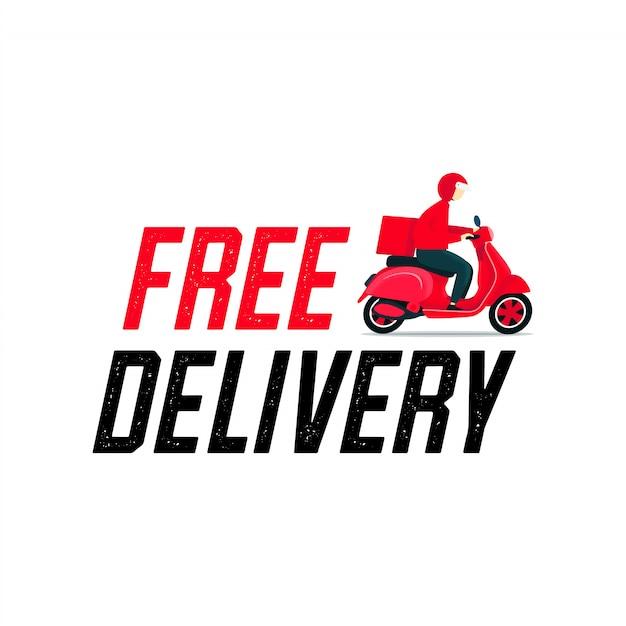 Бесплатная доставка человек на скутере. Premium векторы