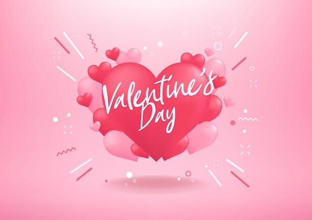 С днем святого валентина с сердцем форму шара фон Premium векторы