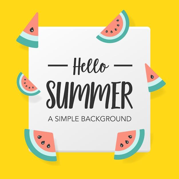 スイカと平らな夏の背景 Premiumベクター