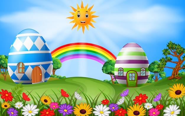 虹のシーンとイースターエッグの家のイラスト Premiumベクター