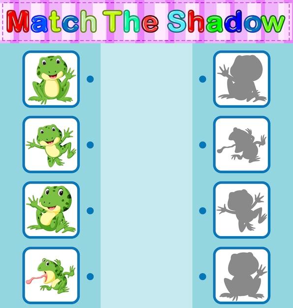 Найти правильную тень лягушки Premium векторы