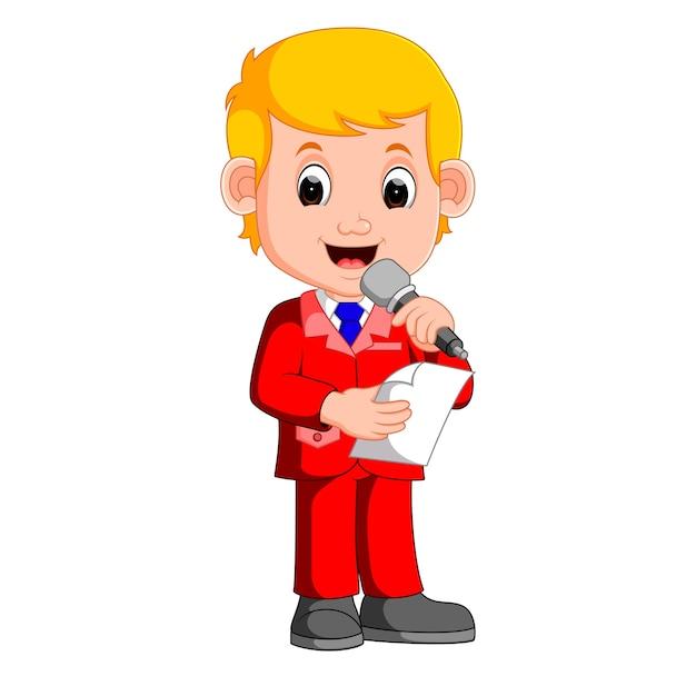若い男の子のプレゼンター Premiumベクター