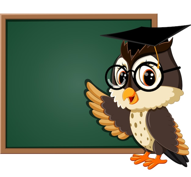 Иллюстрация сова учитель на доске | Премиум векторы