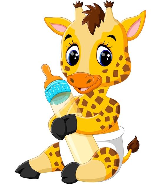 Симпатичный жираф с молочной бутылкой Premium векторы