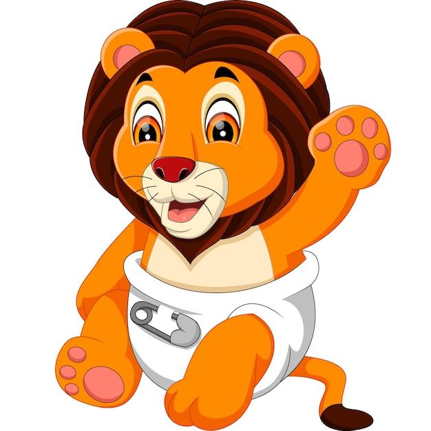 かわいい赤ちゃんライオン漫画のイラスト ベクター画像 プレミアム