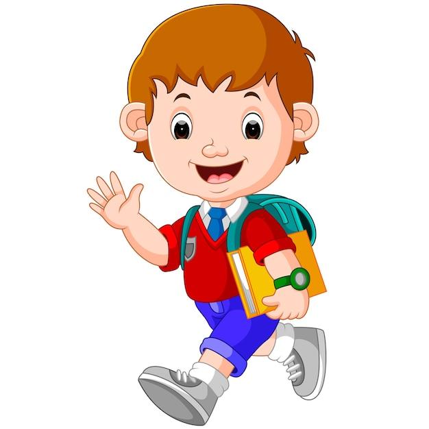 Симпатичный мальчик на пути в школу Premium векторы