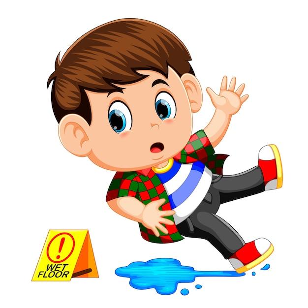 濡れた床に滑っている少年 Premiumベクター