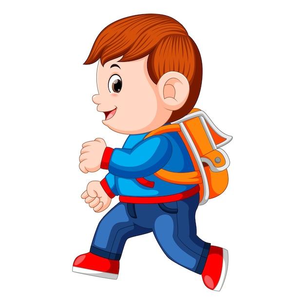 バックパックが歩いている少年 Premiumベクター
